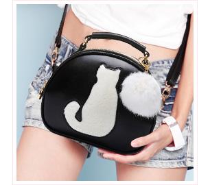 可愛貓咪毛球手提小圓包