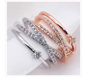 簡約線條鑲鑽指環