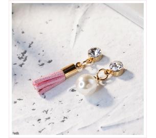 清新氣質不對稱流蘇珍珠 黏貼式耳環