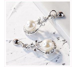 優雅U形鑲鑽珍珠 黏貼式耳環