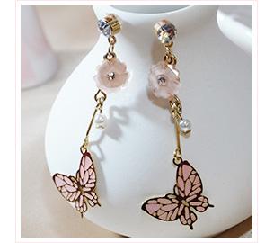 蝴蝶花朵珍珠鑲鑽 黏貼式耳環