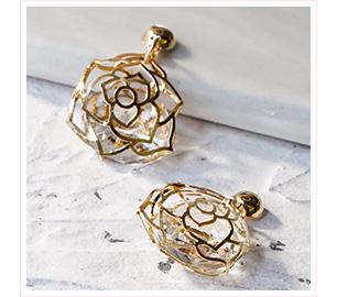 簍空鑲鑽玫瑰花朵 黏貼式耳環