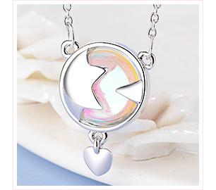 五彩星月愛心合金項鍊