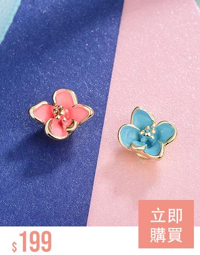 迷你可愛粉嫩花朵不對稱 無耳洞黏貼式耳環