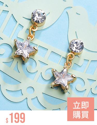閃耀鑲鑽星星 無耳洞黏貼式耳環