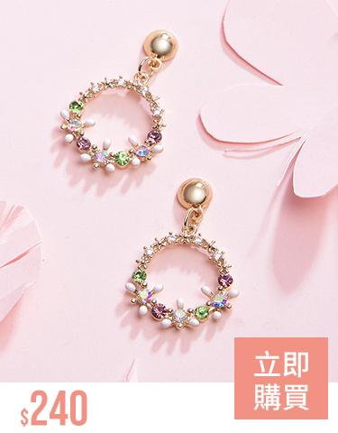 精緻圓圈花環鑲鑽 耳針/無耳洞黏貼式耳環