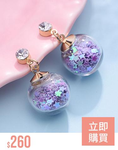 透明玻璃球閃耀亮片 耳針/無耳洞黏貼式耳環