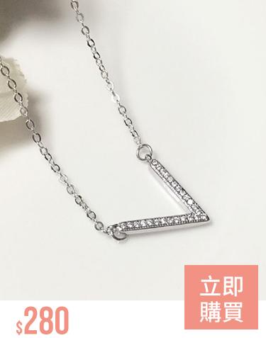 時尚率性V形鑲鑽合金項鍊