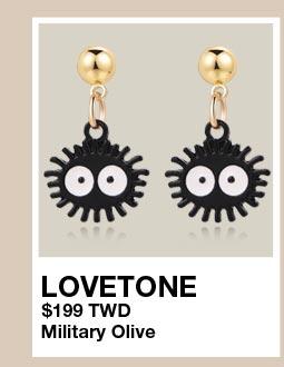 可愛卡通小黑炭 無耳洞黏貼式耳環