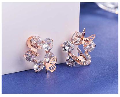 氣質立體雙蝴蝶鑲鑽 無耳洞黏貼式耳環