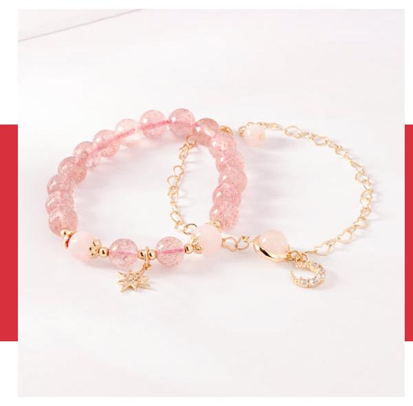 愛戀星月天然草莓晶手鍊(2件組)