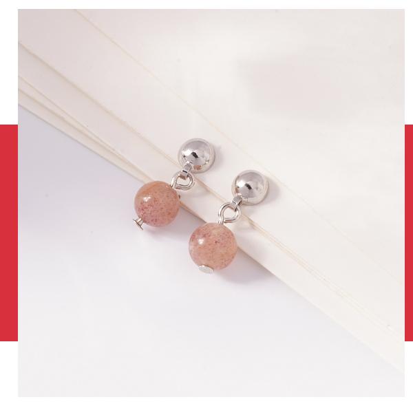 迷你簡約粉嫩水晶 耳針/無耳洞黏貼式耳環