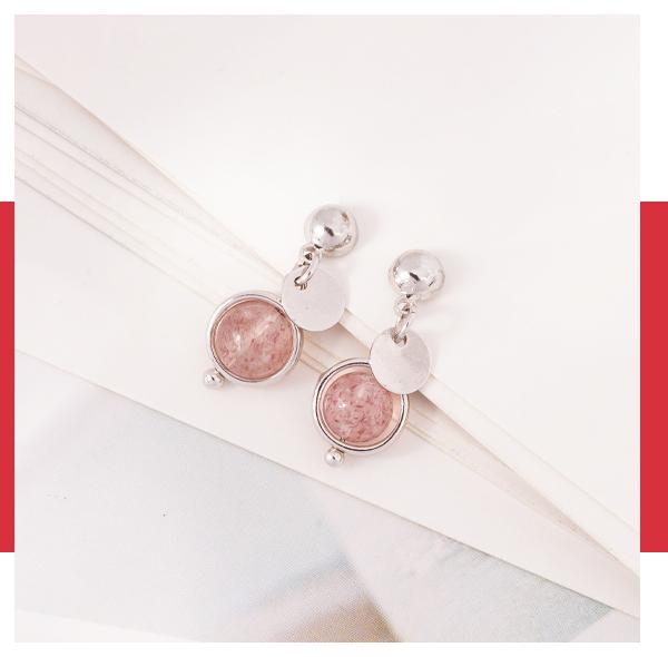 簡約天然草莓晶 耳針/無耳洞黏貼式耳環