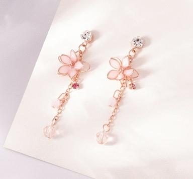 粉嫩雙層櫻花耳環