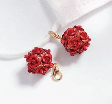 玫瑰花朵口罩吊飾
