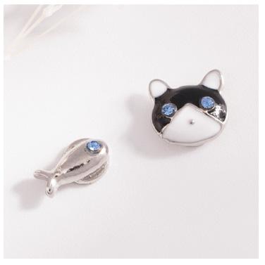 貓與小魚不對稱-無耳洞黏貼式耳環
