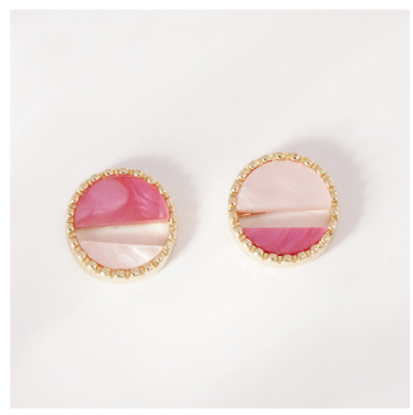 日系精巧拼色幾何圓形-無耳洞黏貼式耳環