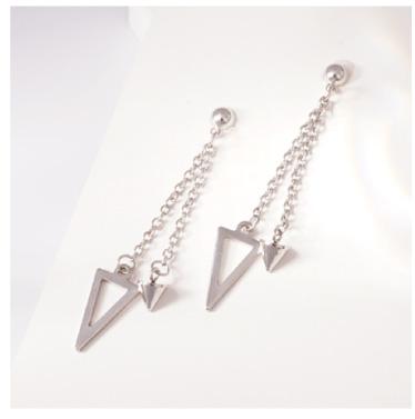 韓版三角形尖錐流蘇-無耳洞黏貼式耳環