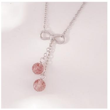 可愛清新草莓晶蝴蝶結項鍊
