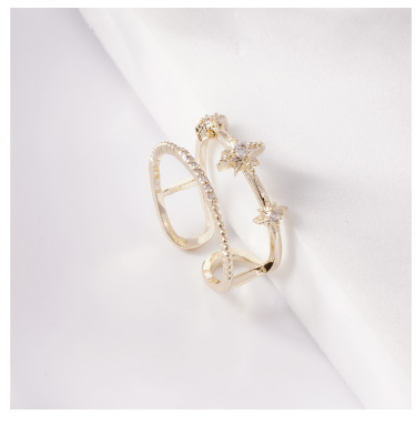 個性芒星鑲鑽雙層開口戒指