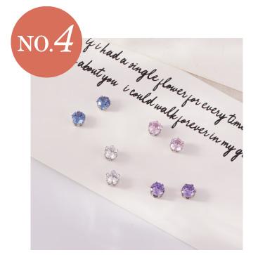 璀璨十二星座水晶-無耳洞黏貼式耳環