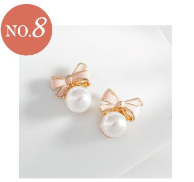 甜美可愛蝴蝶結珍珠黏貼式耳環
