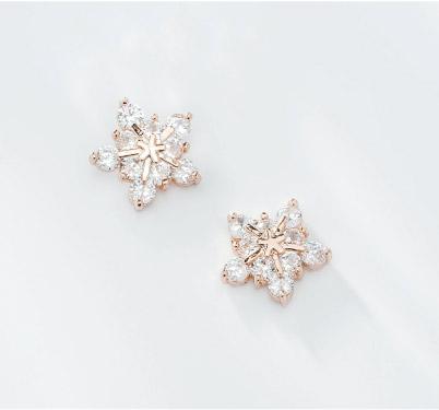 高雅氣質冷豔冰晶雪花鋯鑽黏貼式耳環