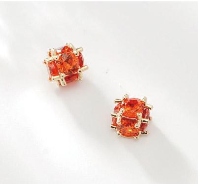 小巧精緻球形亮鑽無耳洞黏貼式耳環