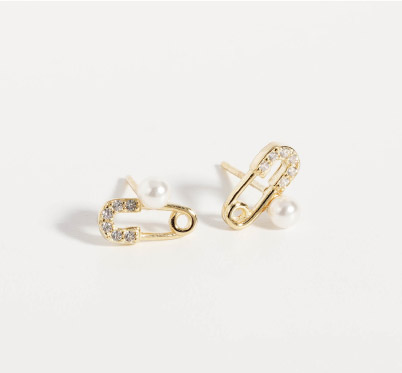 精巧別針珍珠水鑽耳針耳環純銀