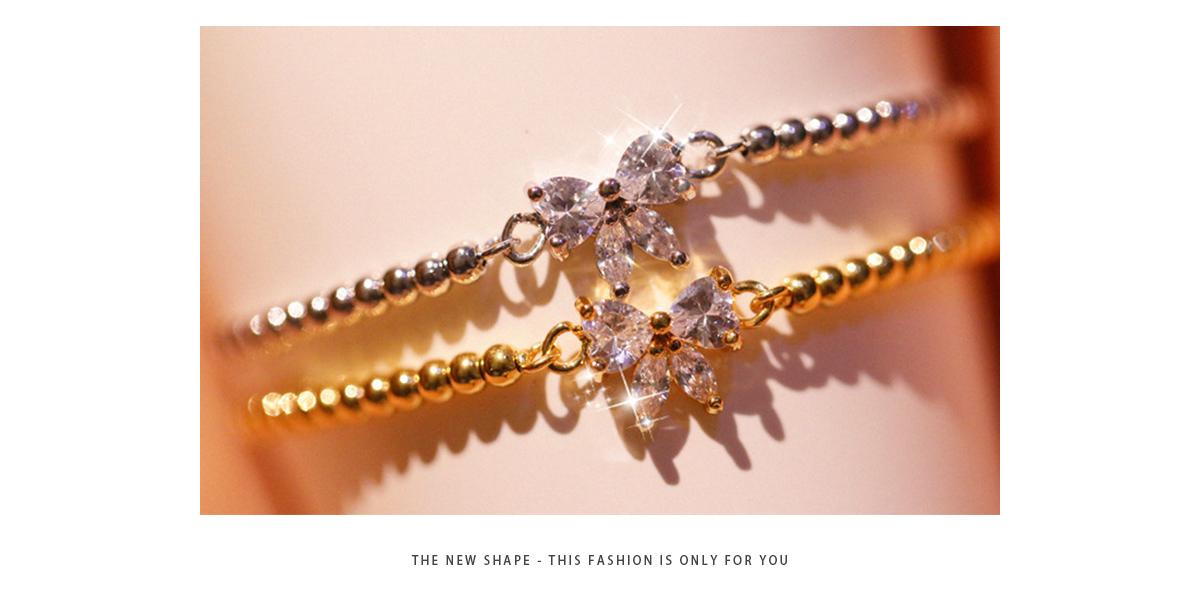 場景展示: 閃耀甜美蝴蝶結鑲鑽圓珠手鍊