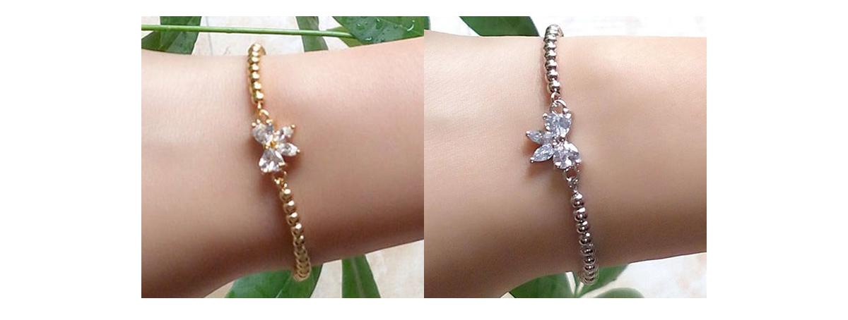 模特兒配戴展示: 閃耀甜美蝴蝶結鑲鑽圓珠手鍊