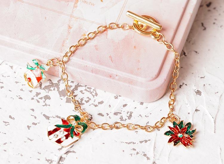 場景展示: 聖誕節限定-禮物鈴鐺造型吊飾手鍊