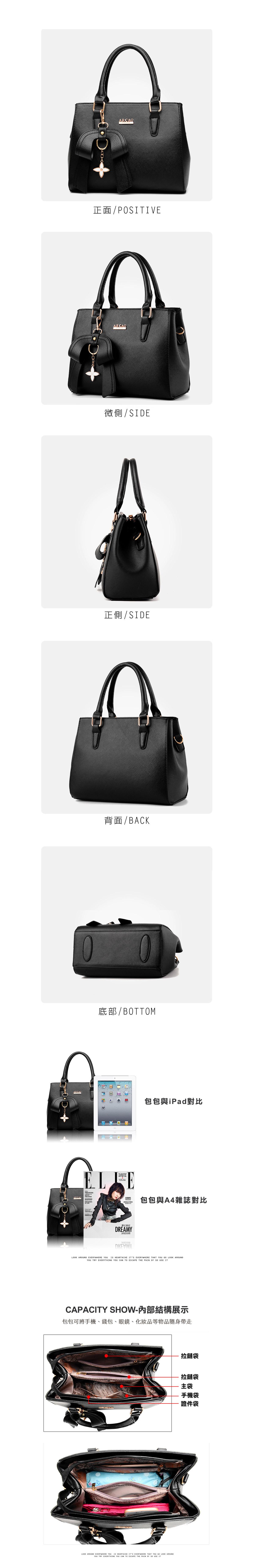 韓版時尚立體甜美單肩手提包,細節展示圖,前面後面背面,都可以仔細看清楚