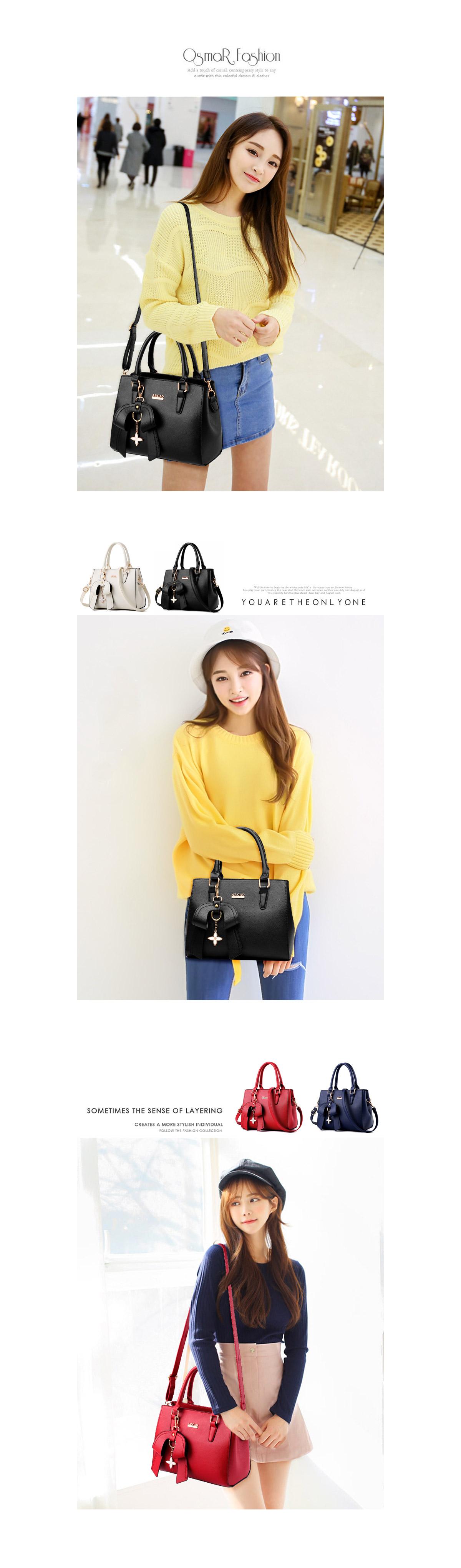 韓版時尚立體甜美單肩手提包,模特兒展示圖,背起來的樣子