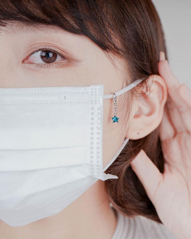清新蔚藍五角星口罩吊飾 細節展示