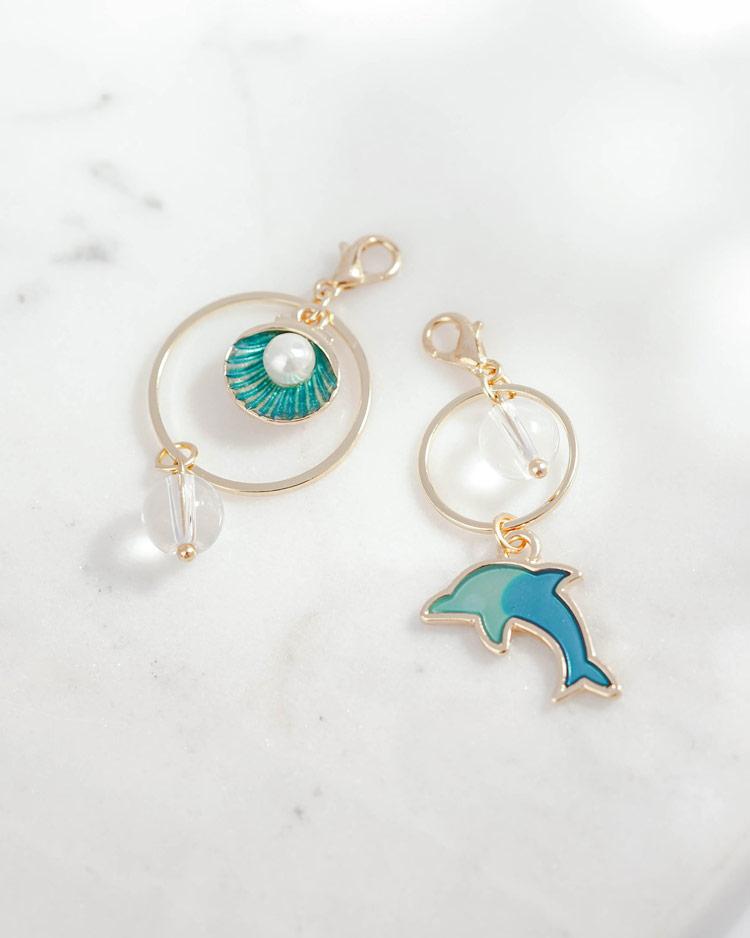 不對稱海豚珍珠貝殼口罩吊飾 場景展示
