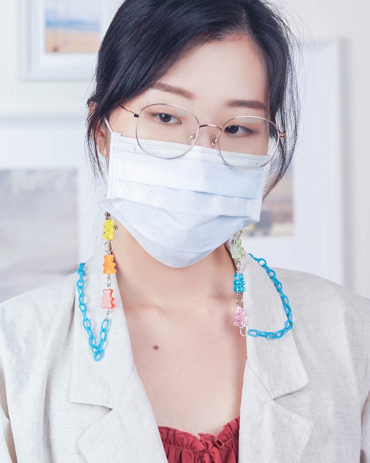 甜蜜蜜軟糖小熊口罩鍊/眼鏡鍊 模特兒展示