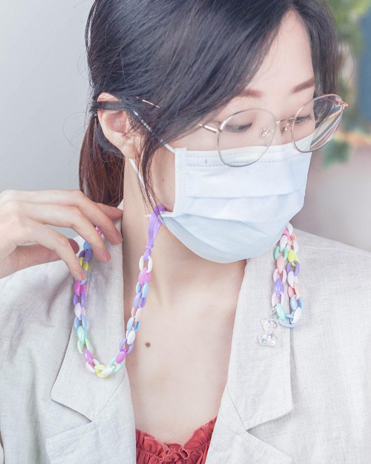創意繽紛DIY口罩鍊/眼鏡鍊材料盒 模特兒展示