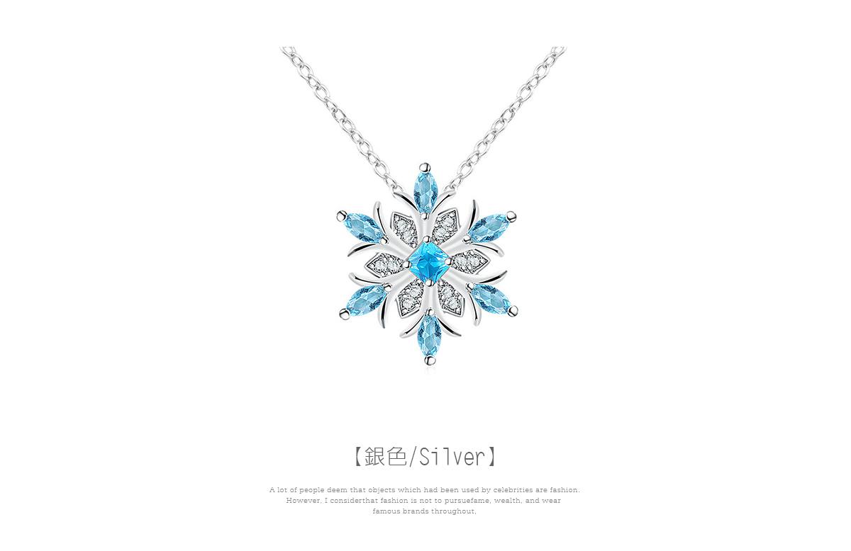 冷豔冰藍雪花合金項鍊,雪花