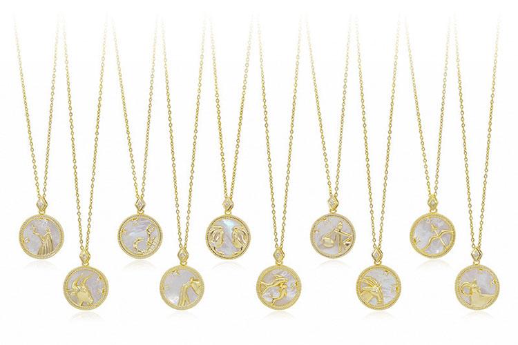 場景展示: 微光漾彩珠母貝十二星座項鍊