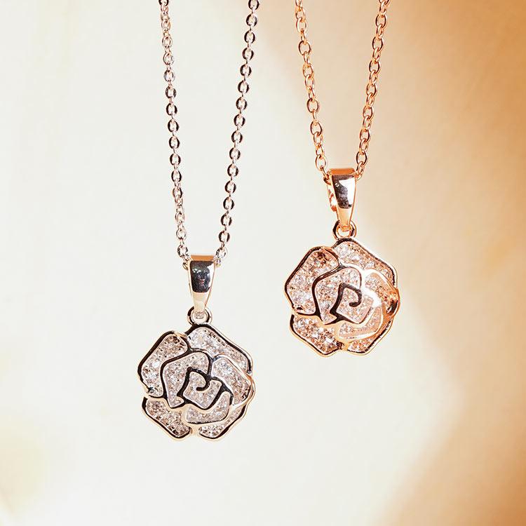 奢華簍空亮鑽玫瑰項鍊