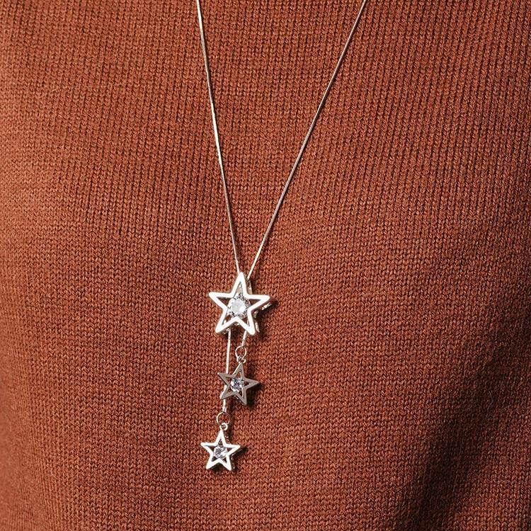銀光淡雅五角星毛衣項鍊
