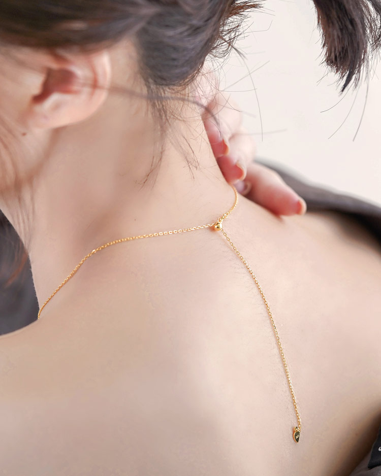 經典復古和闐玉項鍊[純銀] 模特兒展示