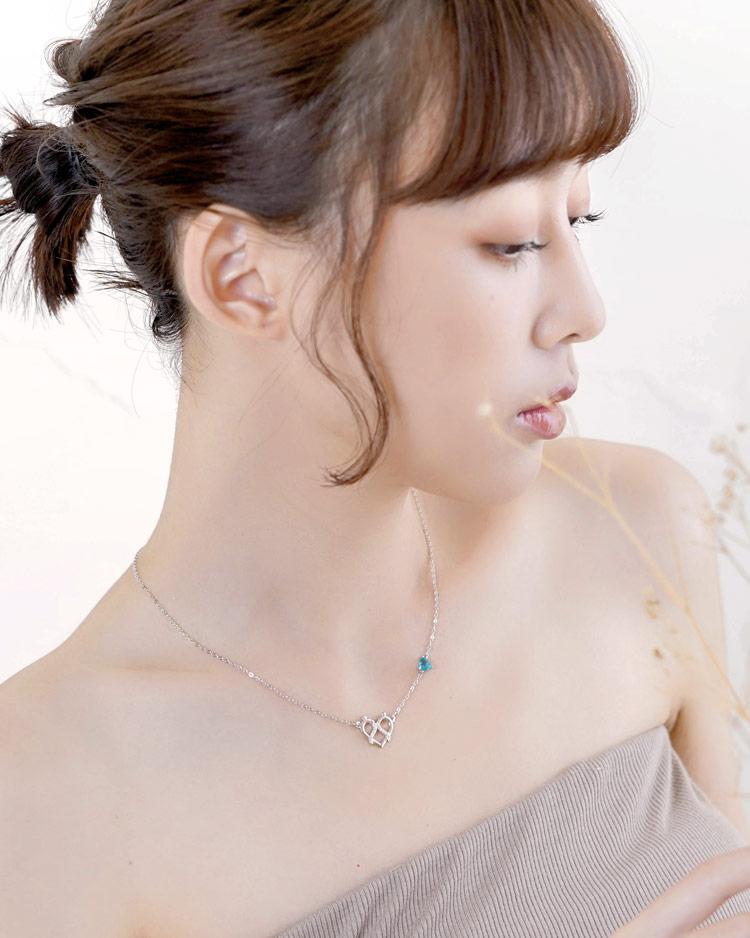 浪漫戀曲十二星座托帕石項鍊[純銀] 模特兒展示