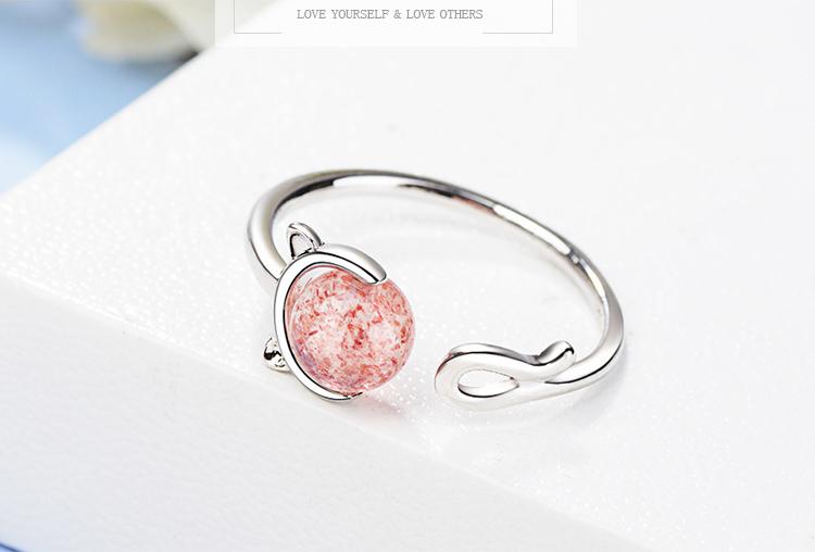 場景展示: 甜美粉嫩晶石貓咪開口戒指