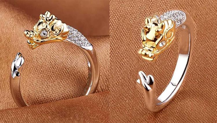 場景展示: 十二生肖鑲鑽合金開口戒指