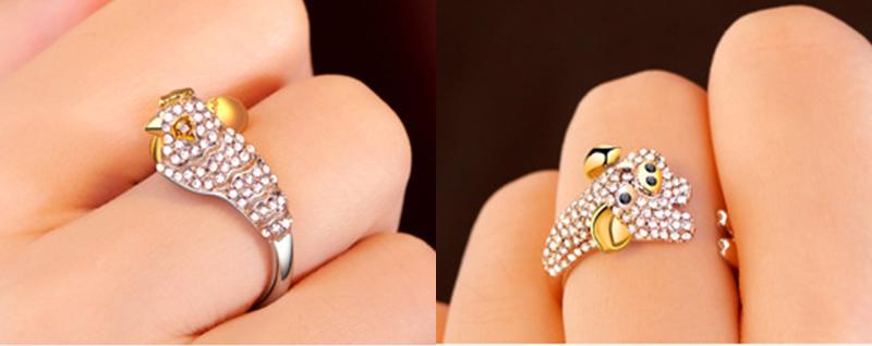 模特兒配戴展示:尋找屬於自己的生肖戒指,質感合金打造,閃亮水鑽鑲嵌,吸睛耀眼。