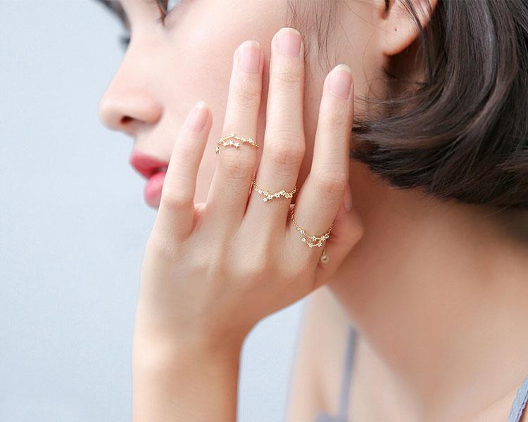 模特兒配戴展示: 時尚個性十二星座鑲鑽戒指鍊