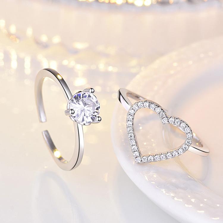 場景展示: 時尚二合一愛心鑲鑽開口戒指