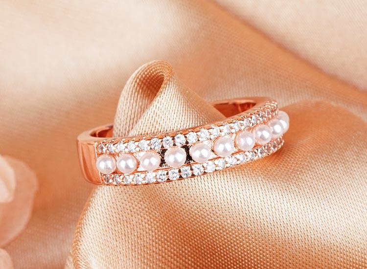 珍珠誓約鑲鑽開口戒指